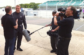 Media Inventions filming Martin Brundle interviewing Sir Chris Hoy